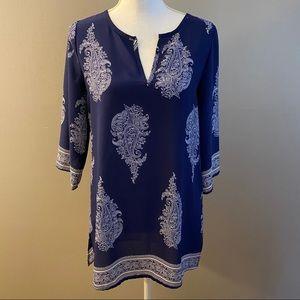 PinkBlush Womens Blue Bohemian ¾ Sleeve Tunic